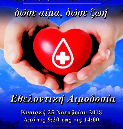 Αιμοδοσία την Κυριακή στον Άγιο  Γεώργιο Παπάγου